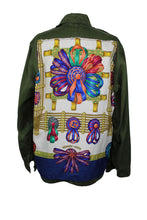 Load image into Gallery viewer, Vintage Army Jacket Reclaimed With Hermes Les Rubans du Cheval Scarf