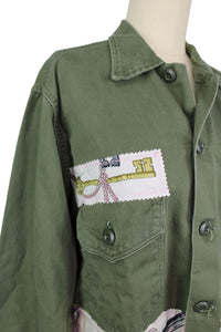 Vintage Army Jacket Reclaimed With Hermes Les Cles Scarf