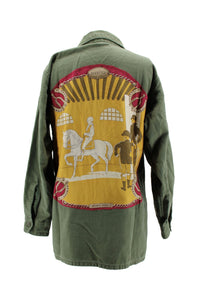 "Vintage Army Jacket Reclaimed With Silk ""Manege"" Scarf"