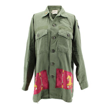 "Load image into Gallery viewer, Vintage Army Jacket Reclaimed With Silk ""Manege"" Scarf"