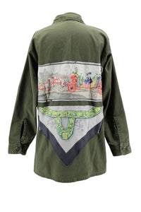 Vintage Army Jacket Reclaimed With Hermes A Cor et a Cri Scarf