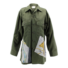 Load image into Gallery viewer, Vintage Army Jacket Reclaimed With Hermes A Cor et a Cri Scarf