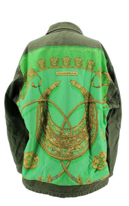 Vintage Army Jacket Reclaimed With Hermes Les Cavaliers D'Or Scarf