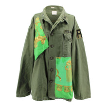 Load image into Gallery viewer, Vintage Army Jacket Reclaimed With Hermes Les Cavaliers D'Or Scarf