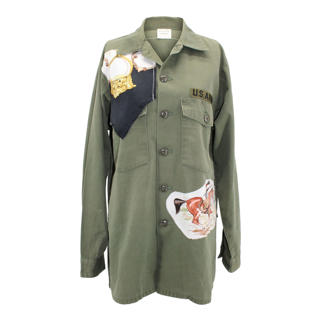 Vintage Army Jacket Reclaimed With Hermes Pampa Scarf