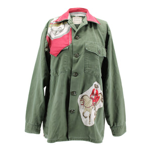 "Vintage Army Jacket Reclaimed With Silk ""Reprise"" Scarf"