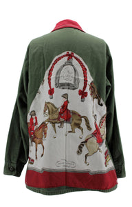 Vintage Army Jacket Reclaimed With Hermes Reprise Scarf