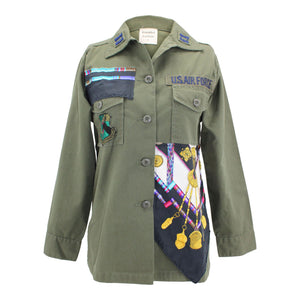 Vintage Air Force Jacket Reclaimed With Hermes Petite Main Scarf
