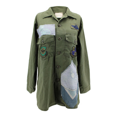 Vintage Army Jacket Reclaimed With Hermes Voitures De Dames Scarf