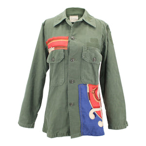 Vintage Army Jacket Reclaimed With Hermes Cannes et Pommeaux Scarf
