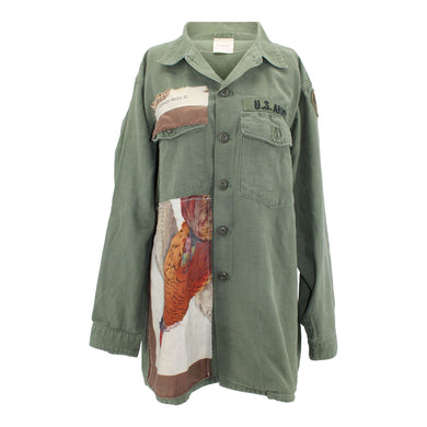 Vintage Army Jacket Reclaimed With Hermes Belle Chasse Scarf