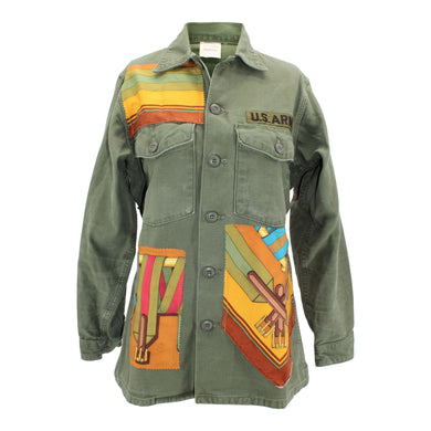 Vintage Army Jacket Reclaimed With Hermes Sangles Scarf