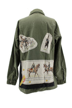 "Load image into Gallery viewer, Vintage Army Jacket Reclaimed With Silk ""Cadre Noir"" Scarf"
