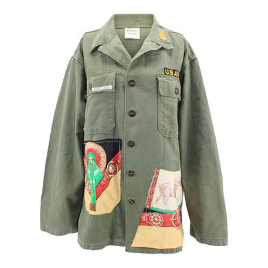Vintage Army Jacket Reclaimed With Hermes Chevaux De Trait Scarf