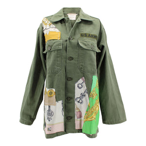 Vintage Army Jacket Reclaimed With Applique From Six Different Silk Scarves