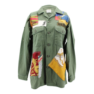 Vintage Army Jacket Reclaimed With Applique From Nine Different Hermes Scarves