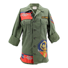 "Load image into Gallery viewer, Vintage Army Jacket Reclaimed With Silk ""Cliquetis"" Scarf"