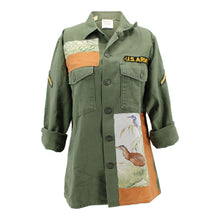 "Load image into Gallery viewer, Vintage Army Jacket Reclaimed With Silk ""Halte en Camargue"" Scarf"