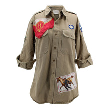 "Load image into Gallery viewer, Vintage Army Jacket Reclaimed With Silk ""Les Haras Nationaux"" Scarf"