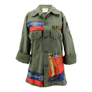 "Vintage Army Jacket Reclaimed With Silk ""Cliquetis"" Scarf"