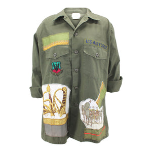 Vintage Air Force Jacket Reclaimed With Applique From Multiple Silk Scarves