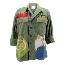 Load image into Gallery viewer, Vintage Army Jacket Reclaimed With Applique From Multiple Silk Scarves