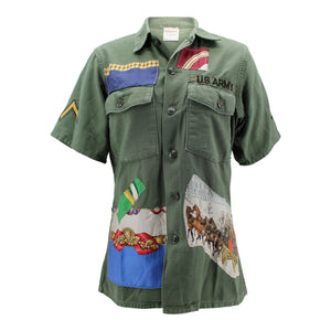 Vintage Army Shirt Reclaimed With Applique From Multiple Silk Scarves