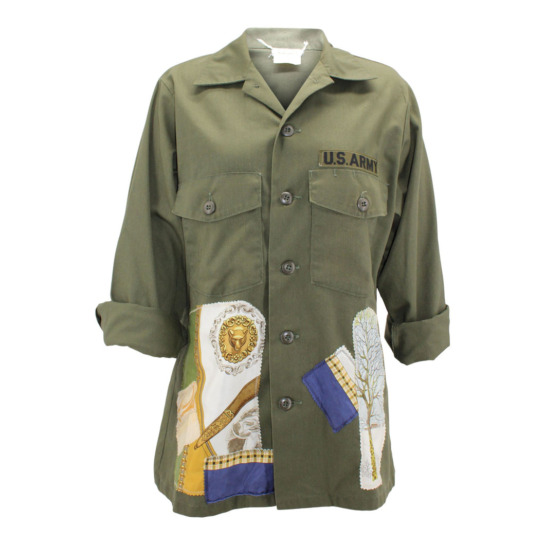 Vintage Army Jacket Reclaimed With Applique From Multiple Silk Scarves