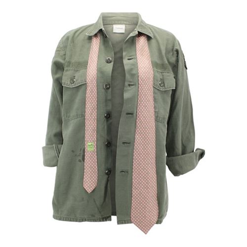 Vintage Army Jacket Reclaimed With Silk Tie