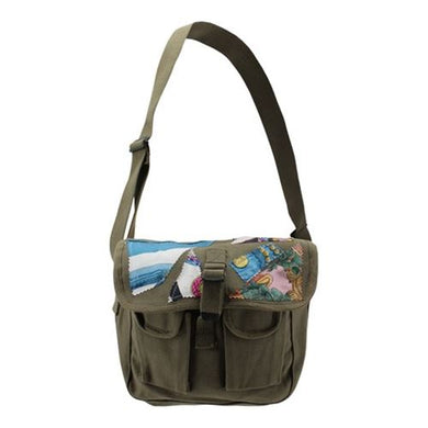 Olive Drab Canvas Military Ammo Shoulder Bag with Silk Scarf Pieces
