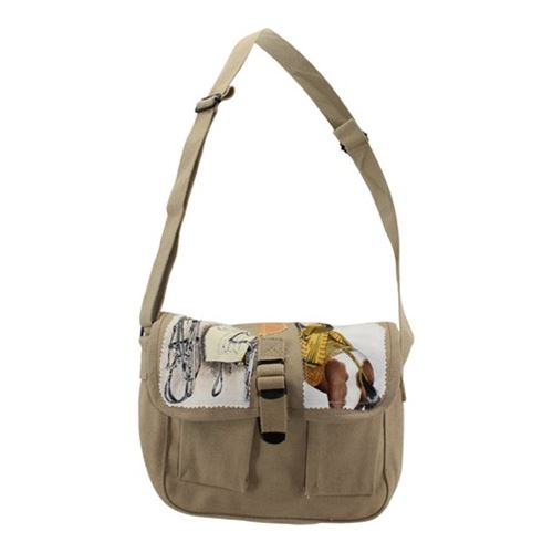 Khaki Drab Canvas Military Ammo Shoulder Bag with Silk Scarf Pieces