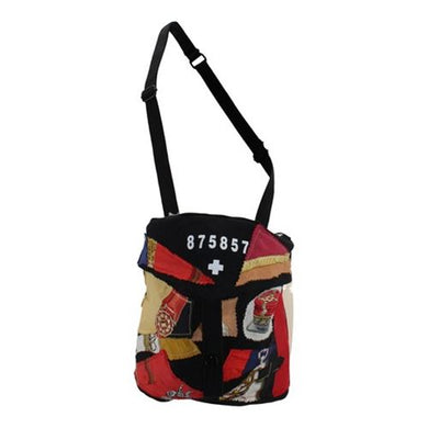 Black Canvas Gas Mask Bag with Silk Scarf Pieces