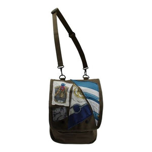 Olive Drab Canvas Map Bag with Silk Scarf Pieces