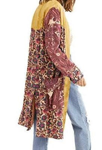 Free People Women Jacket M Maggie Patched Duster Open Front Paisley Floral NWT