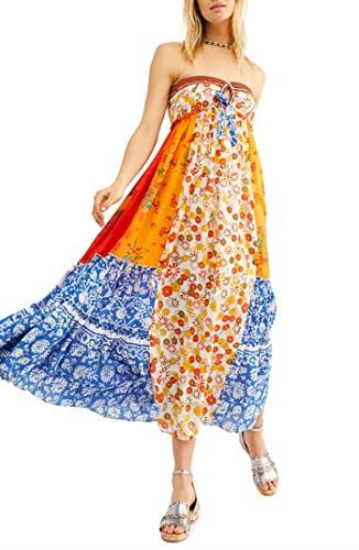 Free People Womens Dress sz M Golden Dreams Strapless Maxi Yellow Red Blue NWT