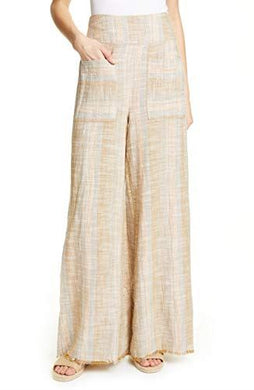 Free People Womens Pants sz S Beige Stripe Moonlight Pull On Wide Leg NWT $108
