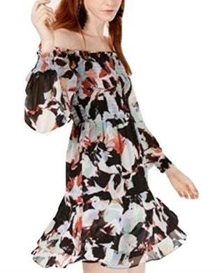 Bar III Womens Dress sz XS Black Multicolor Floral Off The Shoulder Smocked NWT
