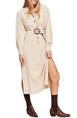 Free People Womens Dress sz S Beige Blue Audrey Stripe Midi Shirtdress NWT $128