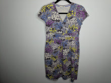 Load image into Gallery viewer, Boden Gray Wrap Neck Dress Floral Cotton Stretch Made in Portugal UK 12 US 8