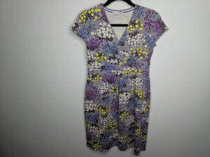 Boden Gray Wrap Neck Dress Floral Cotton Stretch Made in Portugal UK 12 US 8