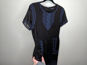 Madewell $148 Fortune Dress Black w/Blue Embroidery Peasant Boho sz 12