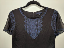 Load image into Gallery viewer, Madewell $148 Fortune Dress Black w/Blue Embroidery Peasant Boho sz 12