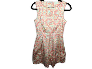 Closet London Dress Open Back Fit & Flare Red Blue Beige Print Made in UK 10 US 6 Pockets