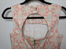 Load image into Gallery viewer, Closet London Dress Open Back Fit & Flare Red Blue Beige Print Made in UK 10 US 6 Pockets