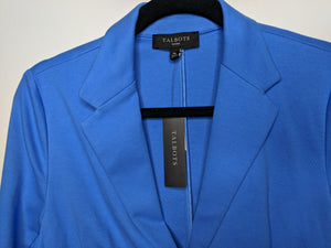NWT $90 Talbots Two Button Blazer Blue Cotton Blend sz PM