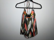 Load image into Gallery viewer, Milly Silk Blend Halter Top Beaded Neck Green Black Orange Ikat Print USA Made sz 6