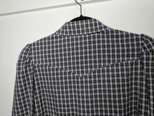 Load image into Gallery viewer, NWT $313 Greysn Plaid Shirt Snap Front Puff Sleeve Western Blue Green White sz M