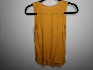 Anthropologie Deletta Mustard Orange Yellow Tank Top USA Made Rosettes Scoop XS