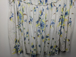 We the Free Floral Blouse Off the Shoulder Ivory Blue Yellow sz S