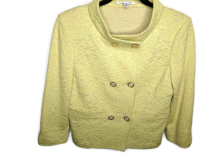 St. John Double Breasted Jacket Yellow Gold Brocade Rhinestone Buttons Metallic US Made sz 6